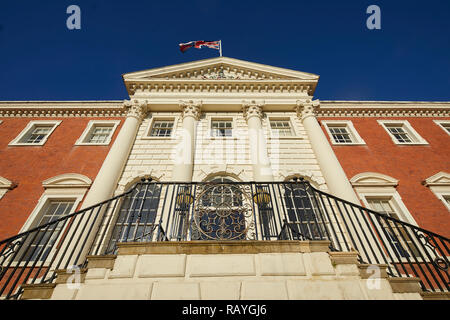 former house palladian style Warrington Town Hall, Cheshire, England originally called Bank Hall Grade I listed building by architect James Gibbs - Stock Photo