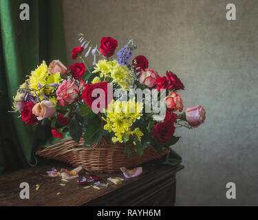 Still life with bouquet of flowers - Stock Photo