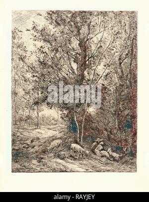 Charles François Daubigny (French, 1817 - 1878). The Shepherd and the Shepherdess (Le Berger et la Bergère), 1874 reimagined - Stock Photo