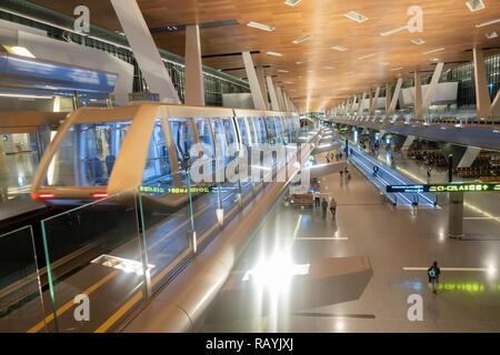 Interior of modern Hamad International Airport inn Doha, Qatar