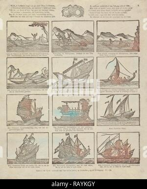 Print showing various old ships, David le Jolle, Anonymous, 1814 - c. 1820. Reimagined by Gibon. Classic art with a reimagined - Stock Photo