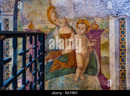 Italy Basilicat Acerenza Cathedral Madonna with child from Botticelliana school - Stock Photo
