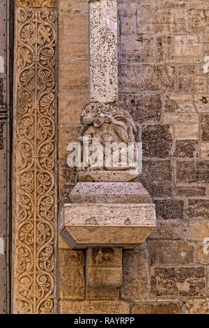Italy Basilicat Acerenza Cathedral façade, monkeys mating with women - Stock Photo