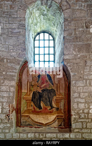 Italy Basilicat Acerenza Cathedral Madonna in Throne with Child, 15th century fresco - Stock Photo