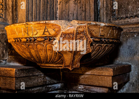Italy Basilicat Acerenza Cathedral crypt font - Stock Photo