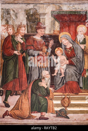 Italy Basilicat Acerenza Cathedral crypt Madonna with Child and Magi - Stock Photo