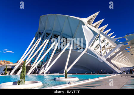 Museu de les Ciències Príncipe Felipe (Prince Philip Science Museum) in the City of Arts and Sciences, Valencia, Spain - Stock Photo