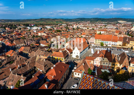 Aerial View Of Sibiu City Skyline In Romania - Stock Photo