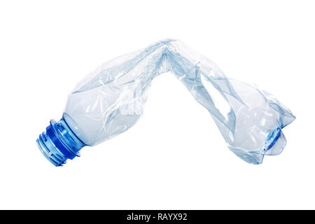 Single crumpled plastic blue bottle isolated on a white background in close-up