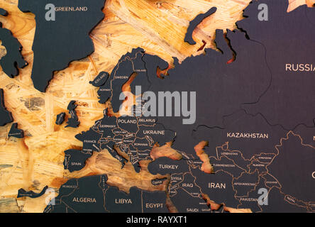 European part of world map made of charcoal and wood - Stock Photo