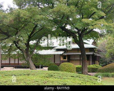 View of the Suwa-no-Chaya teahouse, an elegant structure ordered by Emperor Meiji and placed in Ninomaru garden at Tokyo Imperial Palace East Gardens - Stock Photo