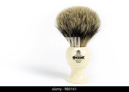 Prague, CZECH REPUBLIC - DECEMBER 31, 2018: Classic hand-made pure badger BK2 shaving brush made by KB Kent laid on white background - Stock Photo