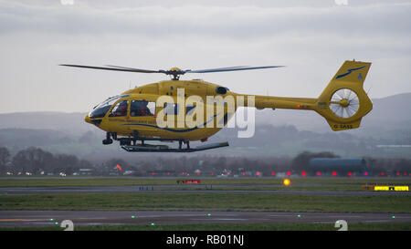 The Scottish Air Ambulance service provides essential life saving services to the National Health Service. Glasgow International Airport, UK. - Stock Photo
