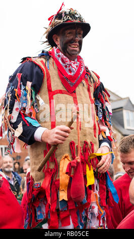 Lincolnshire, UK. 5th January 2019. The 700 year old traditional festival, Haxey, Lincolnshire , UK with the Fool center of attention Credit: Deryck A Dillon/Alamy Live News - Stock Photo