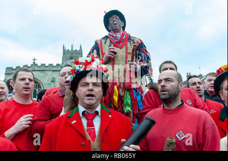 Haxey, Lincolnshire, UK.  5th January 2019.  The village of Haxey have been practicing the ancient tradition since the 14th Century.  It is believed to be the oldest local tradition in England. Known as the Haxey Hood it is most easily described as a sort of rugby match, with unlimited participants and few rules, as a leather tube is slowly walked by the large unorganised rugby scrum to one of four local pubs, where it remains until the following years game.  Credit:  Matt Limb OBE/Alamy Live News - Stock Photo