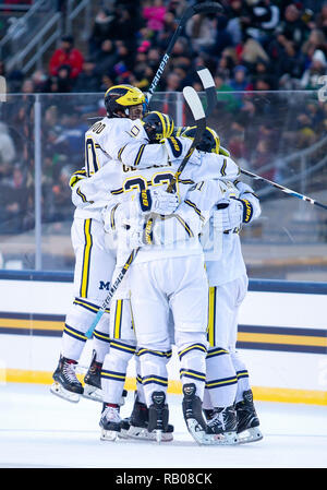 South Bend, Indiana, USA. 05th Jan, 2019. Michigan players celebrate goal during NCAA Hockey game action between the Michigan Wolverines and the Notre Dame Fighting Irish at Compton Family Ice Arena in South Bend, Indiana. John Mersits/CSM/Alamy Live News - Stock Photo