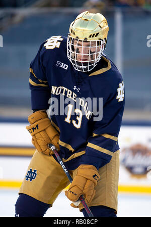 South Bend, Indiana, USA. 05th Jan, 2019. Notre Dame forward Colin Theisen (13) during NCAA Hockey game action between the Michigan Wolverines and the Notre Dame Fighting Irish at Compton Family Ice Arena in South Bend, Indiana. John Mersits/CSM/Alamy Live News - Stock Photo