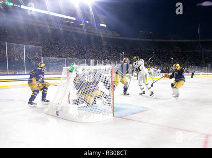 South Bend, Indiana, USA. 05th Jan, 2019. A general view during NCAA Hockey game action between the Michigan Wolverines and the Notre Dame Fighting Irish at Compton Family Ice Arena in South Bend, Indiana. John Mersits/CSM/Alamy Live News - Stock Photo