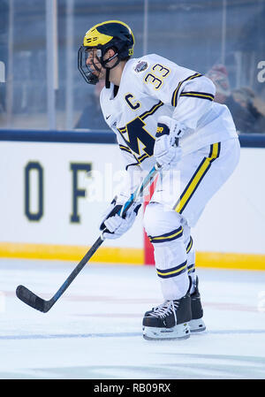 South Bend, Indiana, USA. 05th Jan, 2019. Michigan defenseman Joseph Cecconi (33) during NCAA Hockey game action between the Michigan Wolverines and the Notre Dame Fighting Irish at Notre Dame Stadium in South Bend, Indiana. Michigan defeated Notre Dame 4-2. John Mersits/CSM/Alamy Live News - Stock Photo