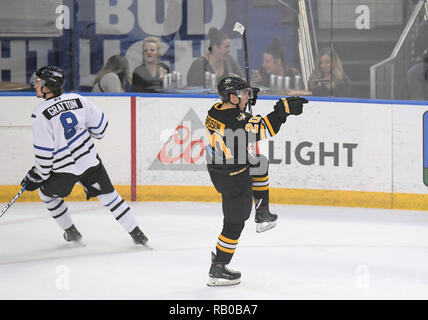 Fargo, ND, USA. 5th Jan, 2019. Green Bay Gamblers forward Brendan Brisson celebrates his goal during a USHL game between the Green Bay Gamblers and the Fargo Force at Scheels Arena in Fargo, ND. Fargo defeated Greenbay 4-2. Photo by Russell Hons/CSM/Alamy Live News - Stock Photo