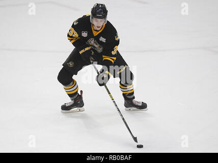 Fargo, ND, USA. 5th Jan, 2019. Green Bay Gamblers defenseman Chris Giroday (39) plays the puck during a USHL game between the Green Bay Gamblers and the Fargo Force at Scheels Arena in Fargo, ND. Fargo defeated Green Bay 4-2. Photo by Russell Hons/CSM/Alamy Live News - Stock Photo