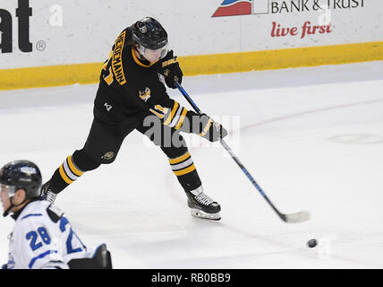 Fargo, ND, USA. 5th Jan, 2019. Green Bay Gamblers forward Austin Heidemann (11) shoots the puck during a USHL game between the Green Bay Gamblers and the Fargo Force at Scheels Arena in Fargo, ND. Fargo defeated Green Bay 4-2. Photo by Russell Hons/CSM/Alamy Live News - Stock Photo
