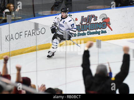 Fargo, ND, USA. 5th Jan, 2019. Fargo Force forward AJ Drobot (17) celebrates scoring a goal during a USHL game between the Green Bay Gamblers and the Fargo Force at Scheels Arena in Fargo, ND. Fargo defeated Green Bay 4-2. Photo by Russell Hons/CSM/Alamy Live News - Stock Photo