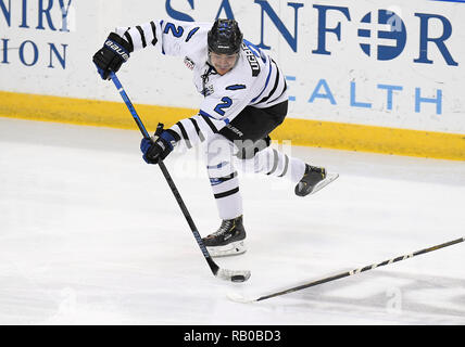 Fargo, ND, USA. 5th Jan, 2019. Fargo Force defenseman Colin Ugbekile (2) passes the puck during a USHL game between the Green Bay Gamblers and the Fargo Force at Scheels Arena in Fargo, ND. Fargo defeated Green Bay 4-2. Photo by Russell Hons/CSM/Alamy Live News - Stock Photo