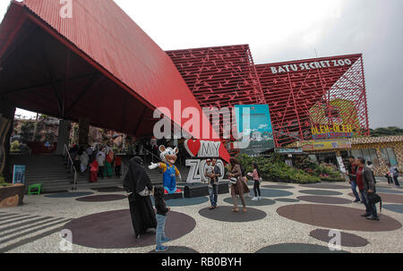 Local Tourists Are Seen At The Main Entrance Of The Batu Secret Zoo Modern Tourist Attractions And Zoos Located On The 14 Hectare Land Are Part Of Jatim Park 2 Which Has A