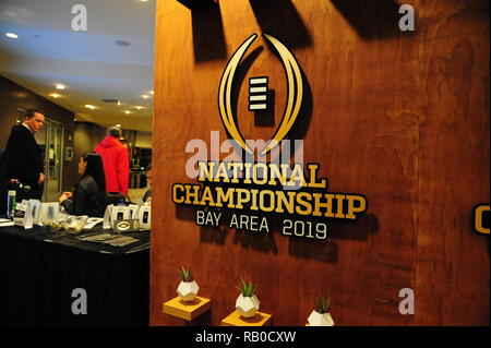 San Jose, CA. The 2019 College Football Playoff National Championship got to a quick start, as both the Alabama Crimson Tide, and the Clemson Tigers arrive in the Santa Clara area, these are small samples of art work of the 2019 College Football Playoff National Championship, in the San Jose Convention center, in Downtown San Jose, CA., on January 4, 2019. (Photo by: Jose Marin/MarinMedia.org/Cal Sport Media) ( Complete Photo & Company Credit Required) - Stock Photo