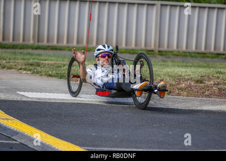 Victoria, Australia. 6th Jan 2019. 2019 Cycling Australia Road National Championships -ParaCyclist giving a wave to the crowd. Credit: brett keating/Alamy Live News - Stock Photo
