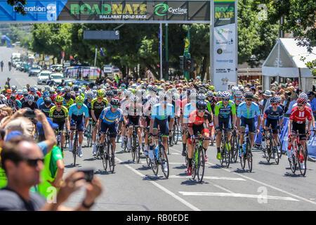Victoria, Australia. 6th Jan 2019. 2019 Cycling Australia Road National Championships Elite Men Road Race- Race start for the 185km race Credit: brett keating/Alamy Live News - Stock Photo