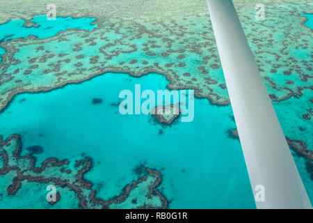 Plane view of the famous Heart Reef (Great Barrier Reef) at the coastline of Airlie Beach near the Whitsunday Islands (Whitsunday Islands, Australia) - Stock Photo