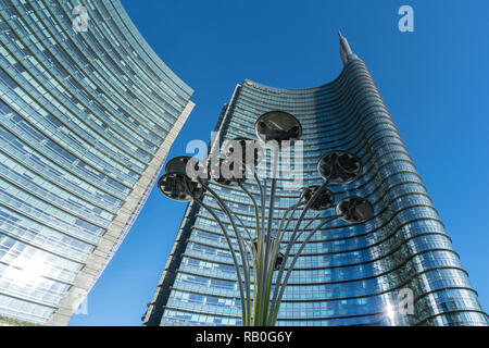 The Unicredit tower designed by architect Cesare Pelli in the Isola district in Milan, Italy - Stock Photo