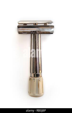 Vintage razor shaver Apollo mikron, isolated on a white background, close-up - Stock Photo