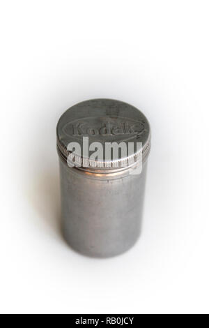 Metal film roll case isolated on white background - Stock Photo
