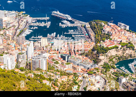 Aerial view of Kingdom of Monaco, view from La Turbie, landmarks, Monte-Carlo, port Hercules, port Fontvieille, Monaco Ville, Palace of Prince - Stock Photo