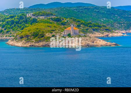 Scenic view at picturesque coastline and Island Host near Vis, Croatia. - Stock Photo