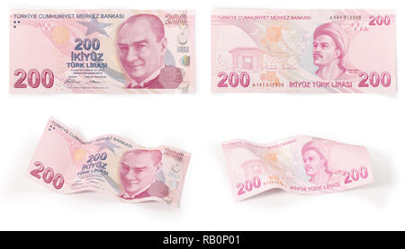 Both sides of a 200 Turkish Lira, curved and flat with clipping path - Stock Photo