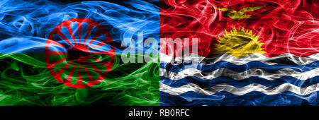 Gipsy, Roman vs Kiribati smoke flags placed side by side - Stock Photo
