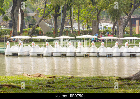 The pedal boats duck on the park. - Stock Photo