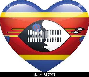 Swaziland flag, vector illustration on a white background - Stock Photo
