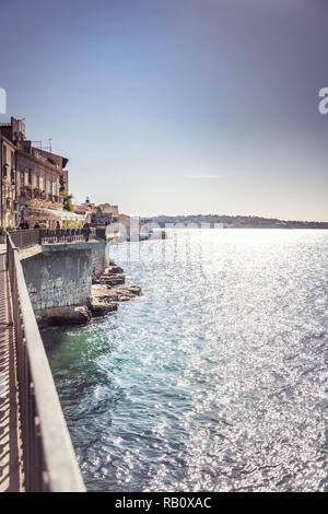 Mediterranean Sea architecture in Ortigia, Sicily - Stock Photo