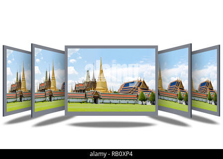 3D Desktop Screen isolated on white background. - Stock Photo