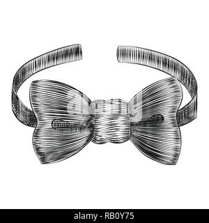 Bowtie elegant male accessory, Hand drawn engraving style, Vector Illustration. - Stock Photo