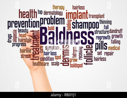 Baldness word cloud and hand with marker concept on white background. - Stock Photo