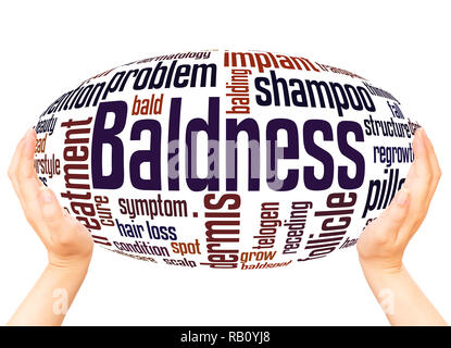 Baldness word cloud hand sphere concept on white background. - Stock Photo