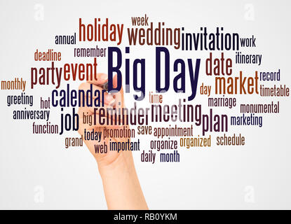 Big Day word cloud and hand with marker concept on white background. - Stock Photo