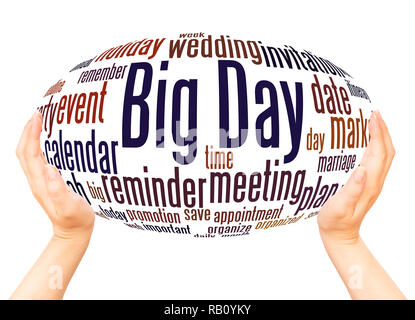Big Day word cloud hand sphere concept on white background. - Stock Photo