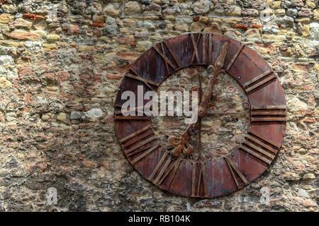 Clock on wall in Zagreb, Croatia - Stock Photo
